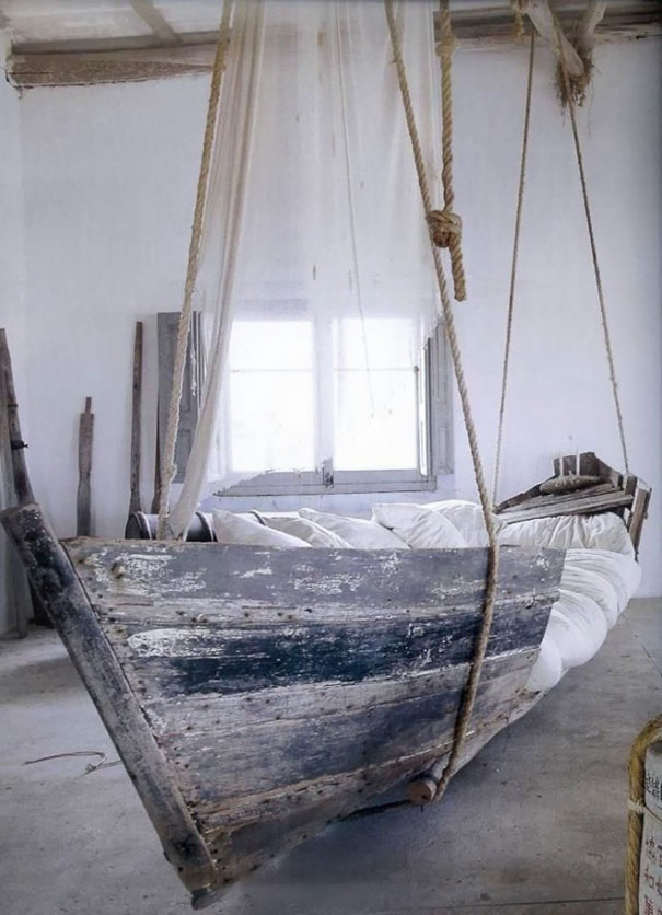 Old boat turned into bed