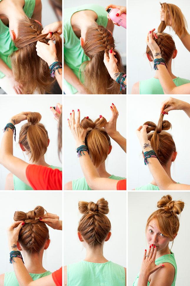 Прическа бантик из волос схема