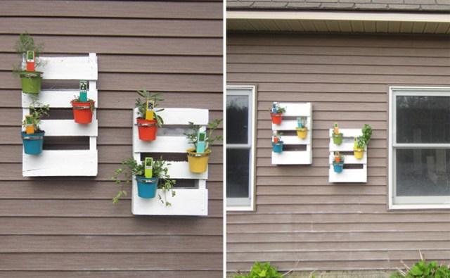 14 idee fai da te per creare bellissimi giardini verticali - Portavasi con pallet ...