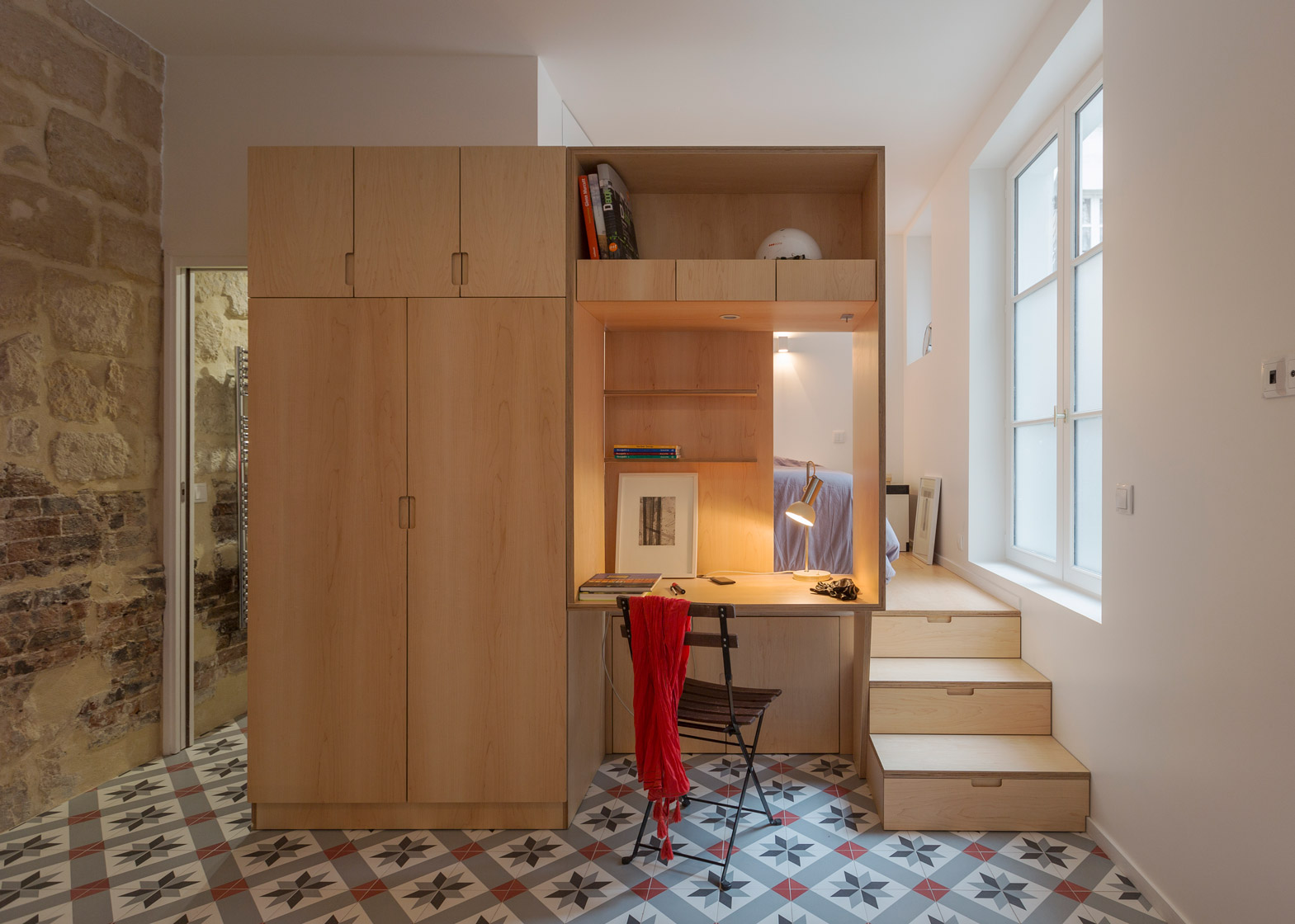 Dashing Studio Apartment Paris By Anne Rolland Architecte Has A Hidden Convertedslurry Pit Studio Apartment By Anne Rolland Has A Hidden Room Decorating One Room Studio Apartments One Room Studio Apar apartment One Room Studio Apartment
