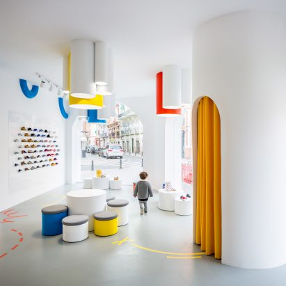 Shoe shop design   Dezeen Arched doorways and bold hues appear throughout Little Stories shoe store