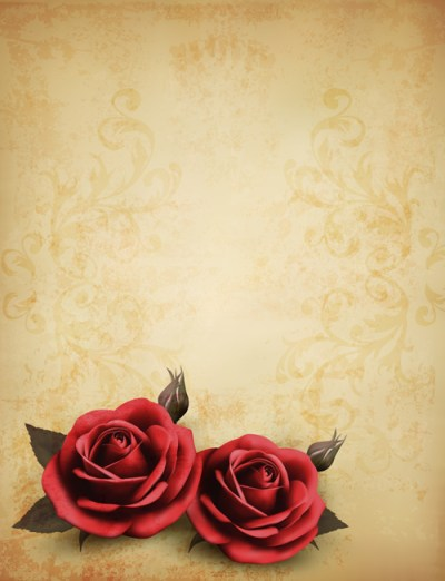 Roses and Vintage background vector 02 | Free download