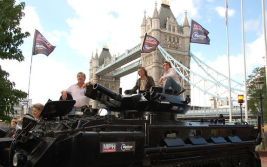 Clarkson, Hammond, and May in front of Tower Bridge