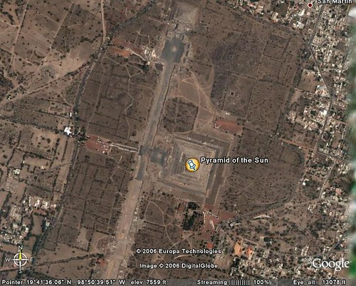 The Pyramid of the Sun, Teotihuacan, in Google Earth