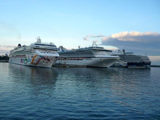 Cruise ships dwarfed the ferry