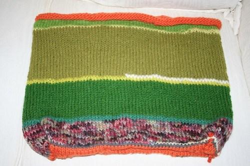 scrap yarn bag before felting