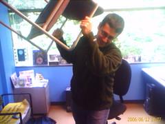 Dean Hachamovitch throws a chair
