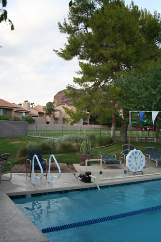 The pool, with Camelback in the background