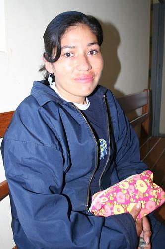 Bolivian woman shows off her Bolivian bolsita