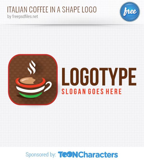 Italian Coffee in a Shape Logo Template