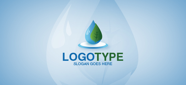 Water Drop with Leaf Logo Template