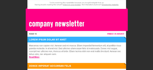 Colorful Free Company Newsletter