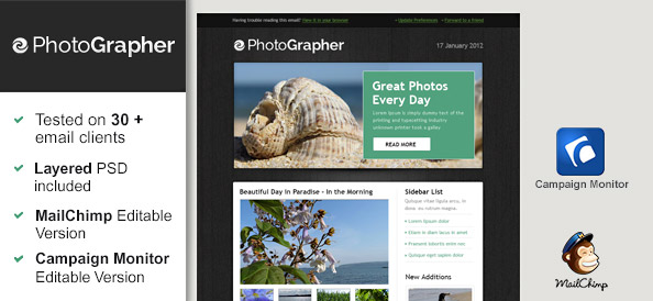 Free Html Email Template – Photographer
