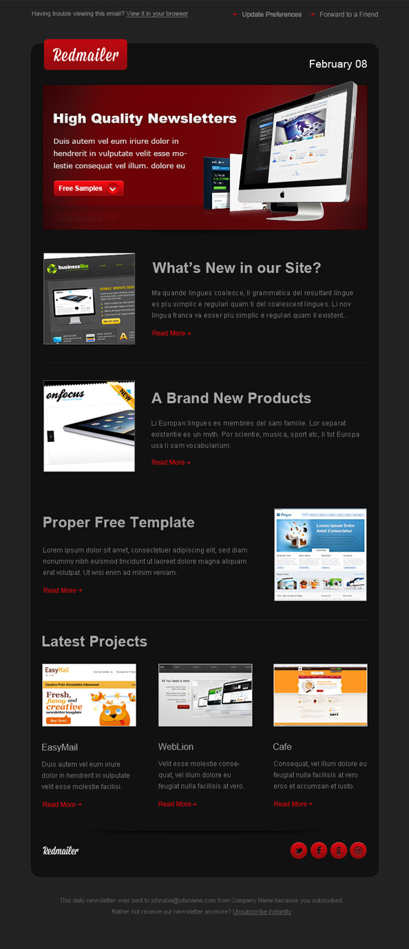 Free Newsletter Template Redmailer Preview