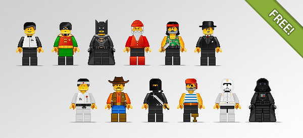 12 Lego Characters in Pixel Art Style