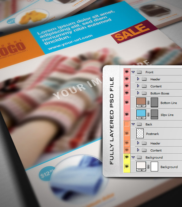Free PSD Retail Marketing Postcard Preview Layers