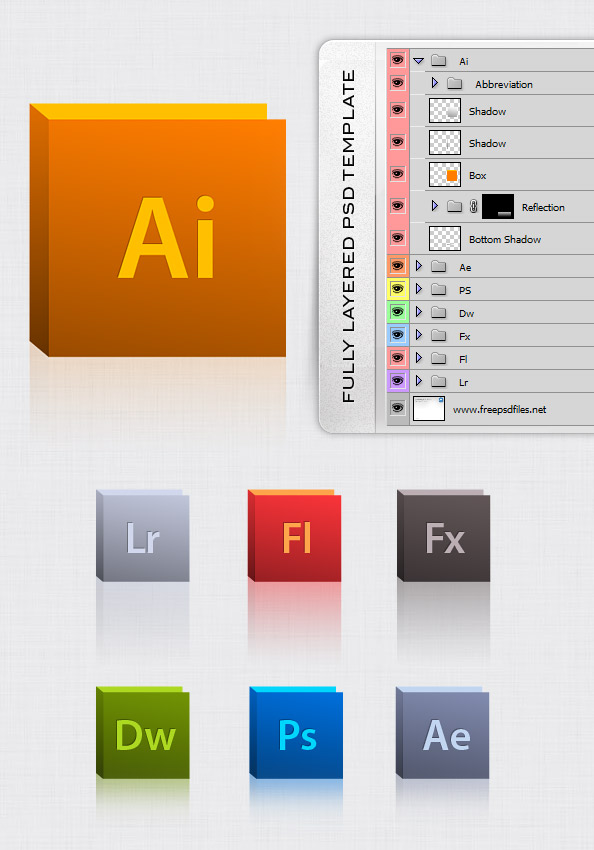 Fully Layered Adobe Icon Set