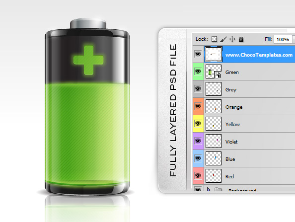 Battery Icon PSD Preview