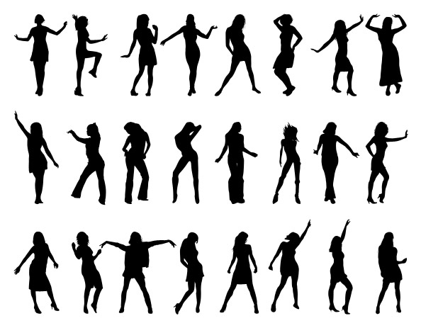 Dancing Girls Silhouettes Set Preview