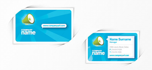 Free PSD Business Card Template in Blue Colors