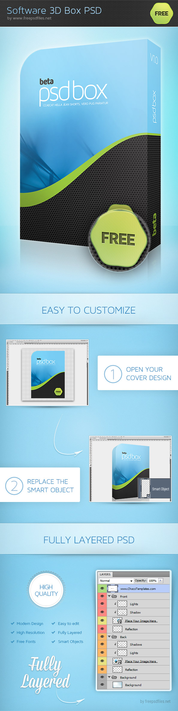 Software 3D Box PSD Template Preview