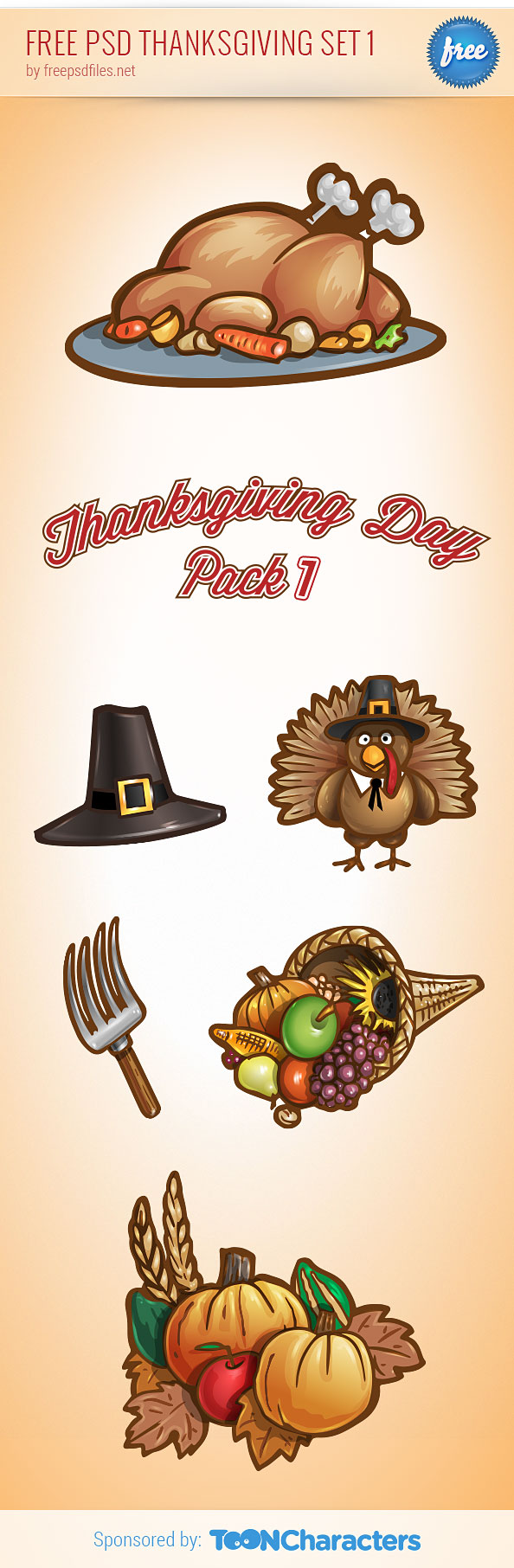Free PSD Thanksgiving Set Preview