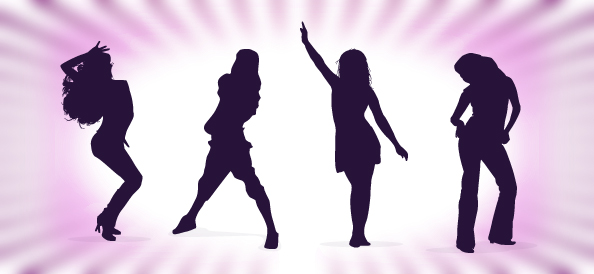 Dancing Girls Silhouettes Set 1