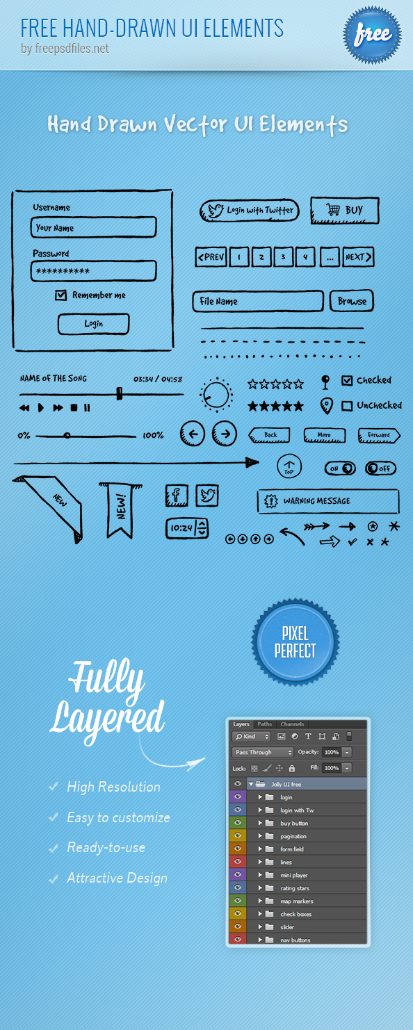 Free PSD Hand-drawn UI Elements