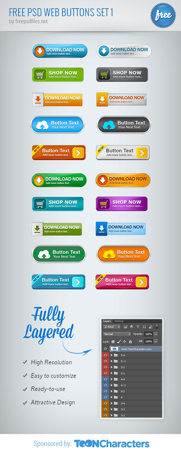 Free PSD Web Buttons Set 1