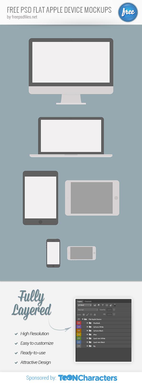 FREE PSD Flat Apple Device Mockups