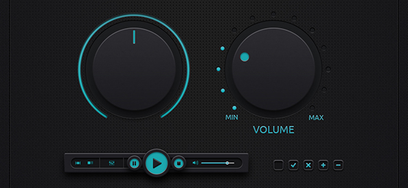 Free PSD Music Control Buttons