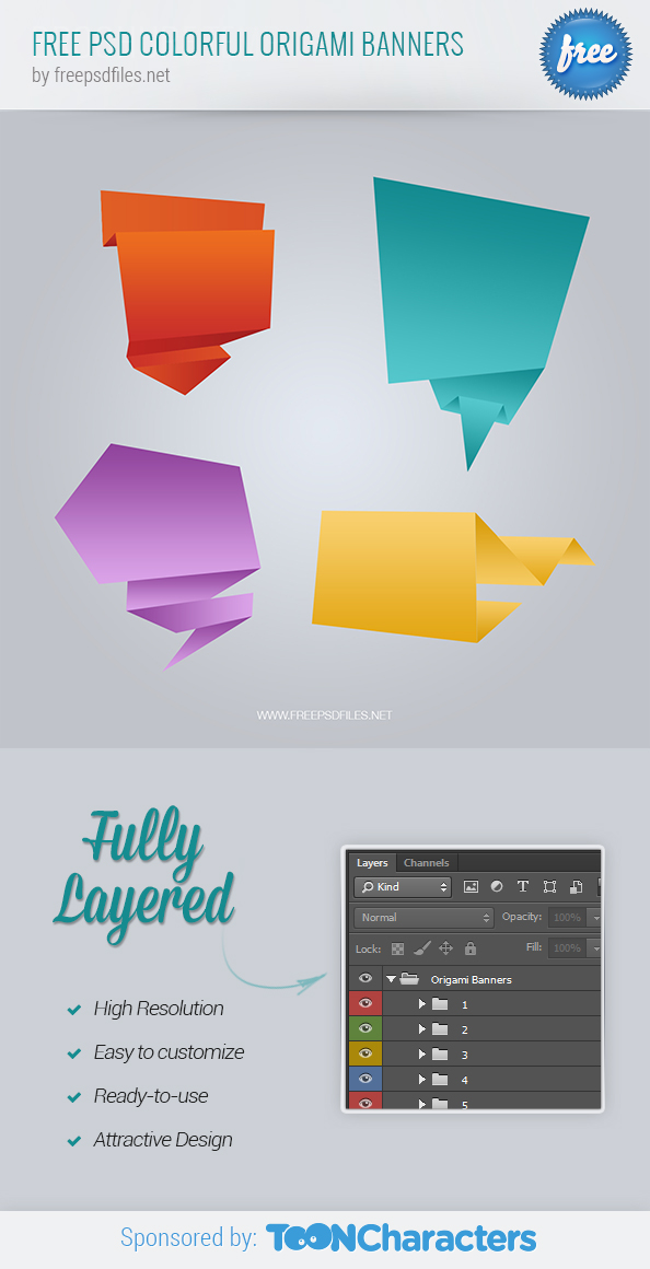FREE PSD colorful origami banners