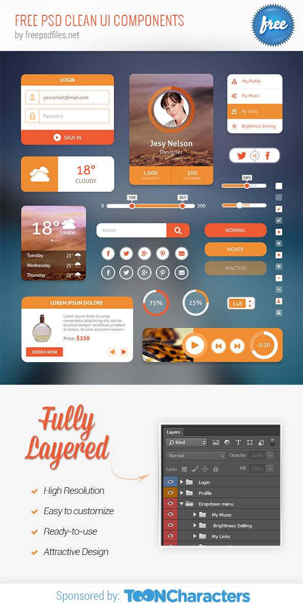 FREE PSD Clean UI Components