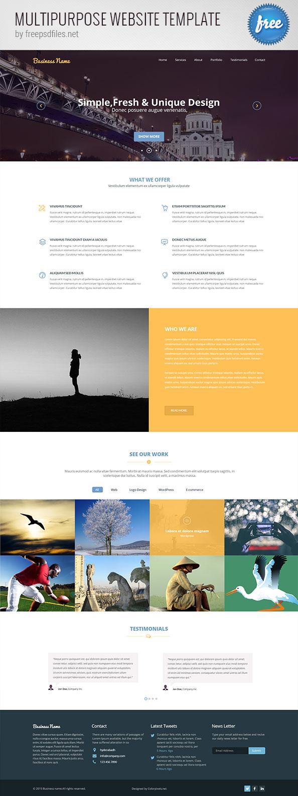 Free PSD Multipurpose Website Template