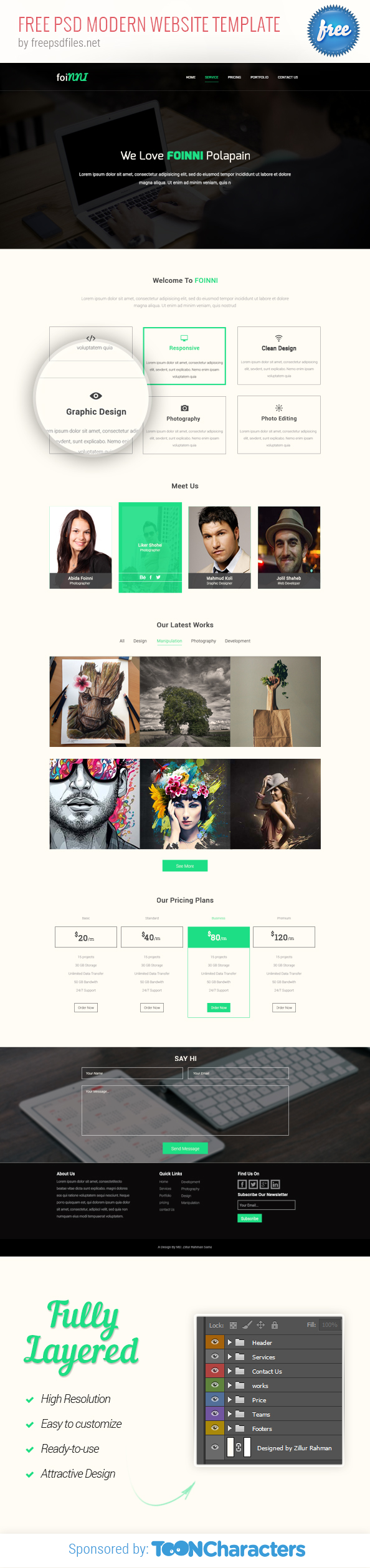 Free PSD Modern Website Template