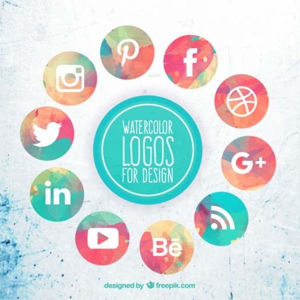 collection-of-watercolor-social-media-icons