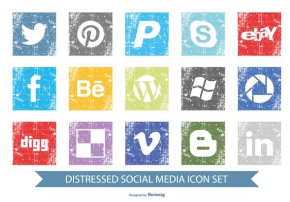 distressed social media icons