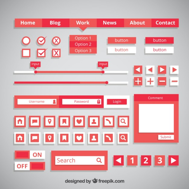 red-web-buttons-and-elements-in-flat-design