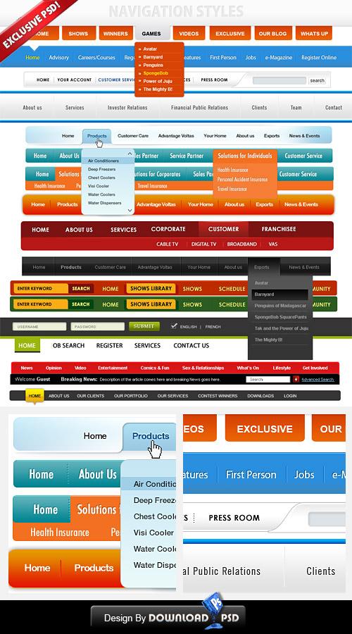 Free-Navigation menus