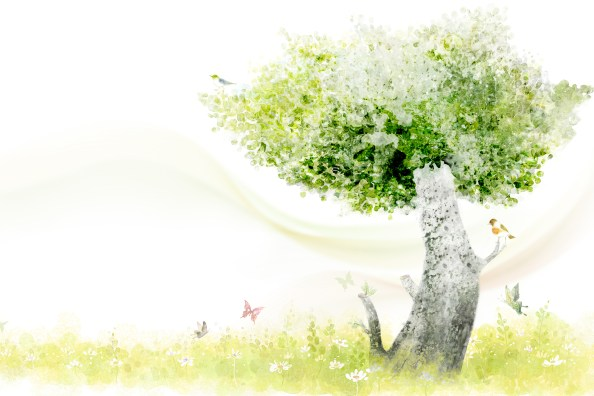 clear_style_of_handpainted_green_trees_psd_layered_images 4500x3000