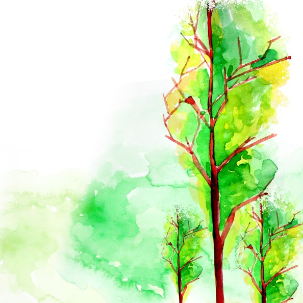 watercolor trees free PSD background