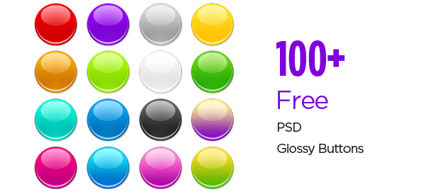 100+ Free PSD Glossy Buttons for Shiny Designs