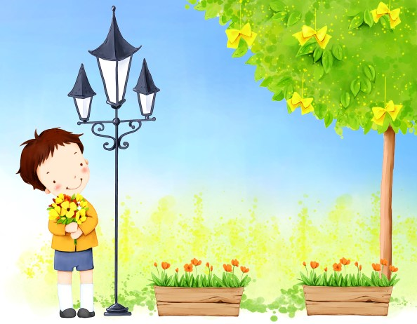cute kid cartoon background