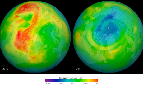 Hole in ozone over northern hemisphere in 2011