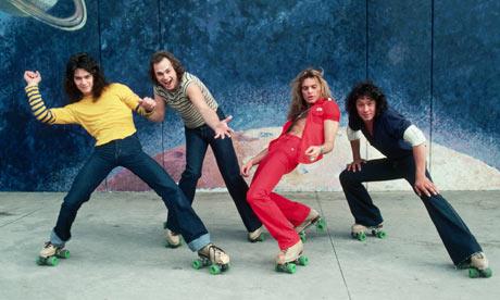Van Halen in 1978 on roller skates