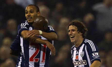 West Bromwich Albion's Peter Odemwingie celebrates