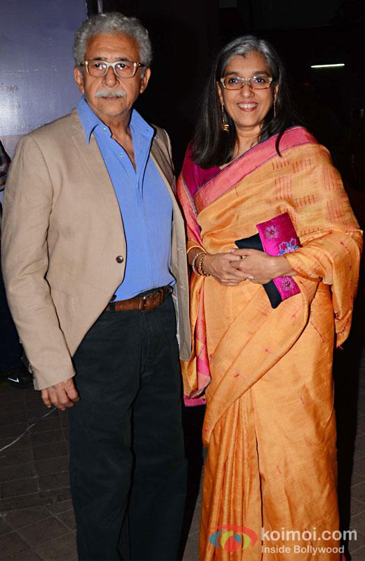 Naseeruddin Shah and Ratna Pathak during the screening of OK Jaanu