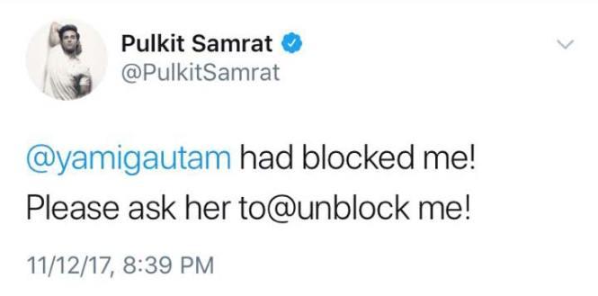 Pulkit Samrat Urges His Fans To Request Yami Gautam To Unblock Him
