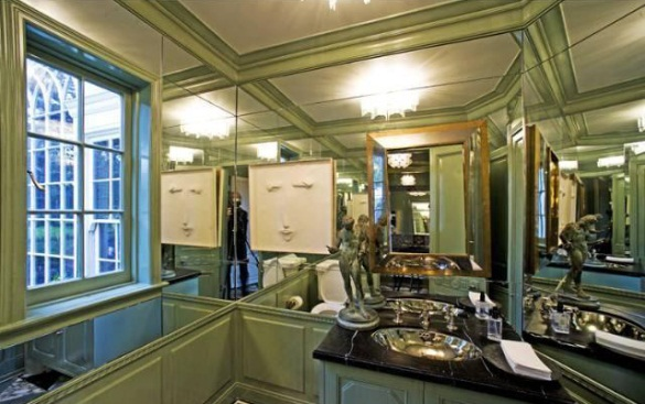 Kelly Wearstler Home Beverly Hills CA mirrored bathroom