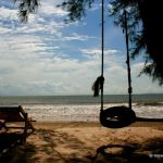 Lounging on the beach outside of Koh Kong's Crab Shack